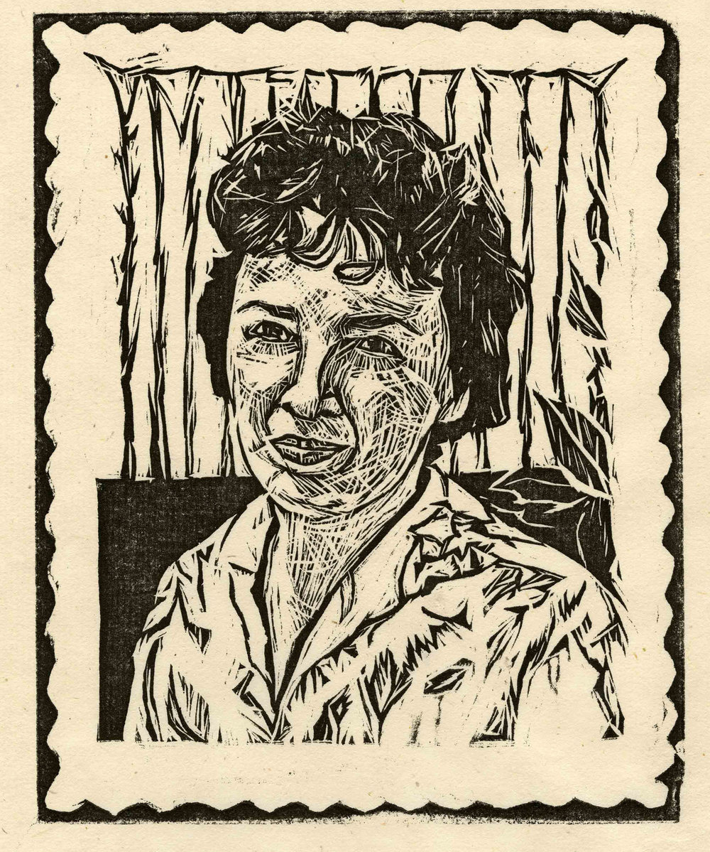"My Mother, woodcut, 7-3/8"" x 5-7/8"""