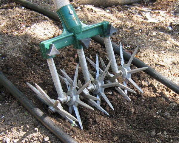 Simple tools like a garden weasel or bow rake make scarification of soils and mulch an easy task.