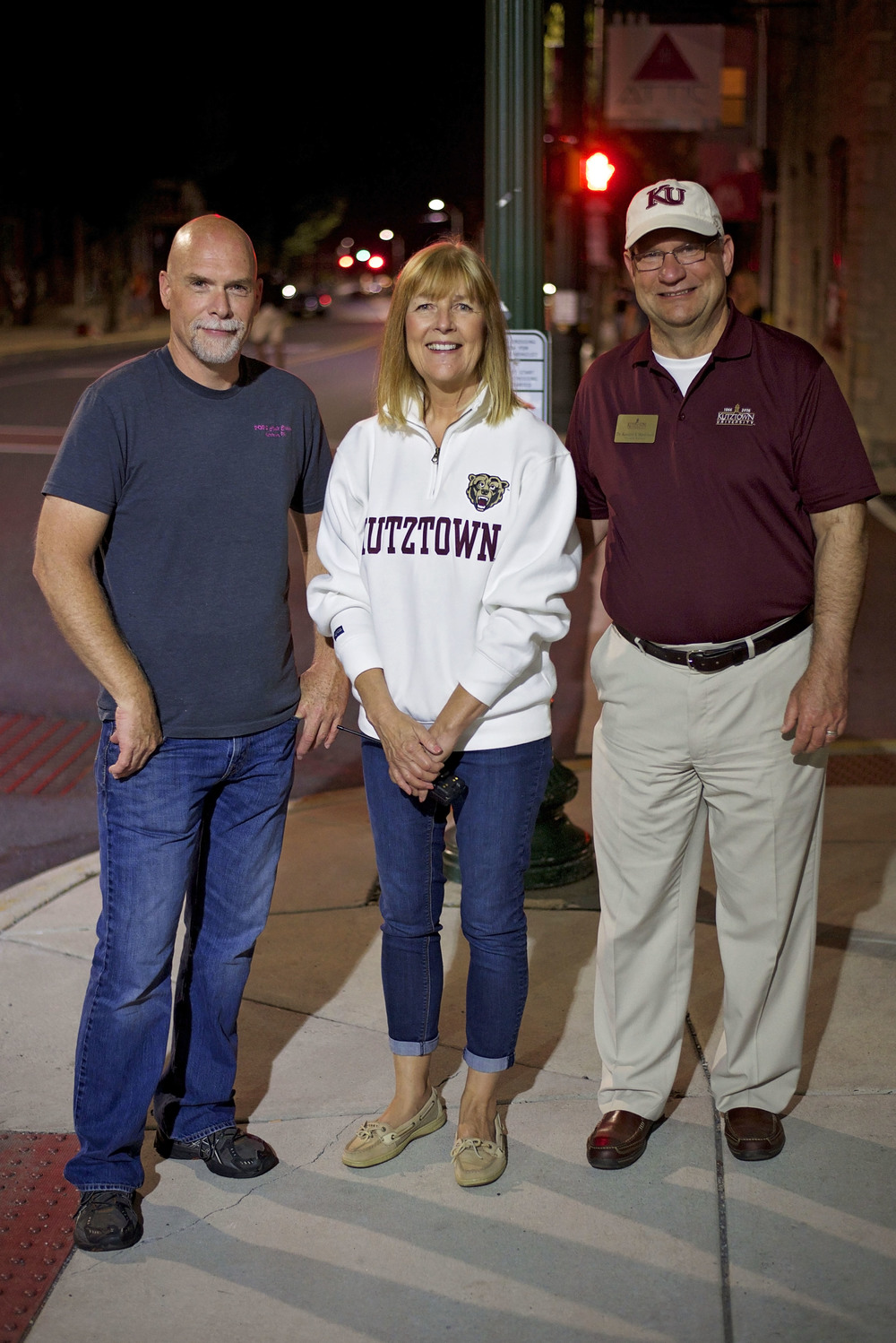Pictured above, left to right:   KCP President Joel Seidel, Mayor Sandy Green and Kutztown University President Dr. Kenneth Hawkinson walking the first midnight shift of the new semester.
