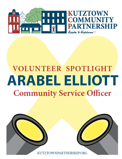 "Arabel first became involved with KCP when her husband, former KCP Board President, Andy Arnold asked her for help. She currently serves as our Social Work Field Instructor. When Arabel isn't helping out at KCP, she works as a Community Service Officer and also volunteers at KAHS, KES, and the KAMS. Arabel is passionate about volunteer work and thinks it's a great way to care for the Kutztown community. ""I enjoy giving back to my profession and giving toward my community, so I keep doing it.""   What is your favorite volunteer memory?  ""I have many! I got a kick out of seeing my daughter hamming it up for the cameras and cleaning up Main Street with thirty-plus big, strapping KU fraternity brothers.""    Tell us some of your favorite hobbies  ""Cooking, crochet, and reading.""   What's a surprising fact about yourself?  ""I have a tattoo!""   Why would you invite others to volunteer at KCP?   ""It's fun and feels great!"""