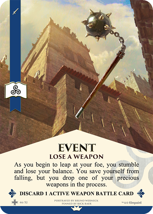 Event Cards have a blue ribbon