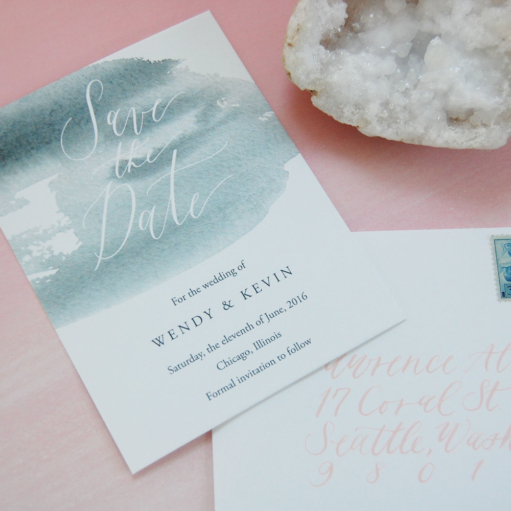 save the date envelope emily a howell calligraphy design