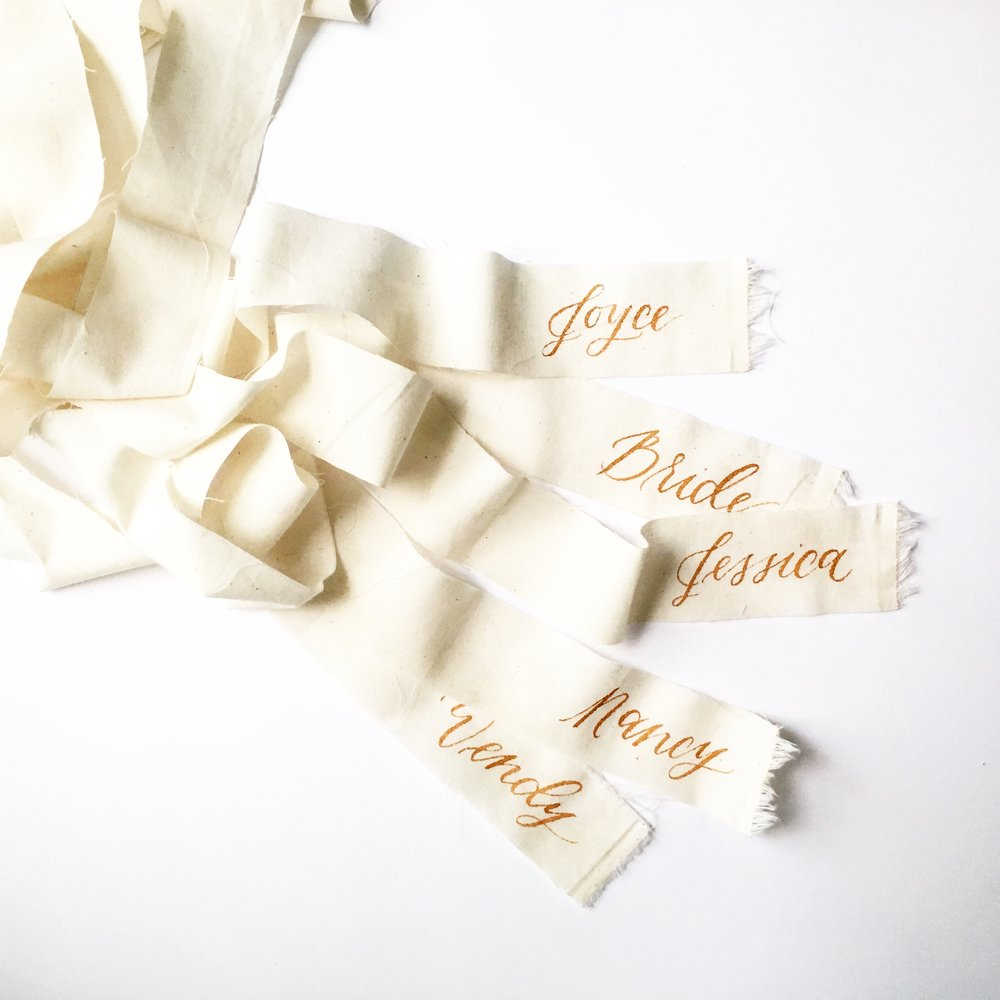 calligraphy name ribbons