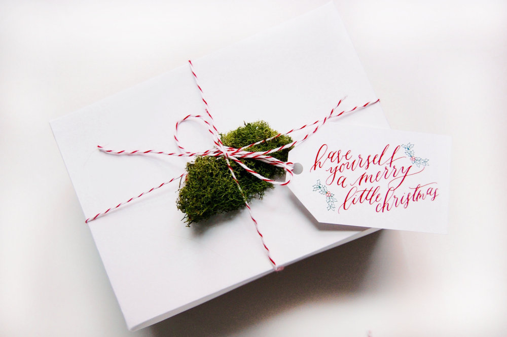calligraphy christmas tags