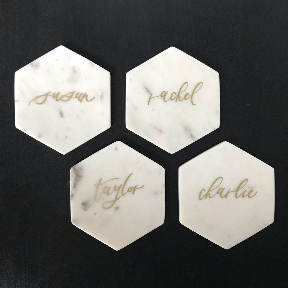 marble calligraphy place cards