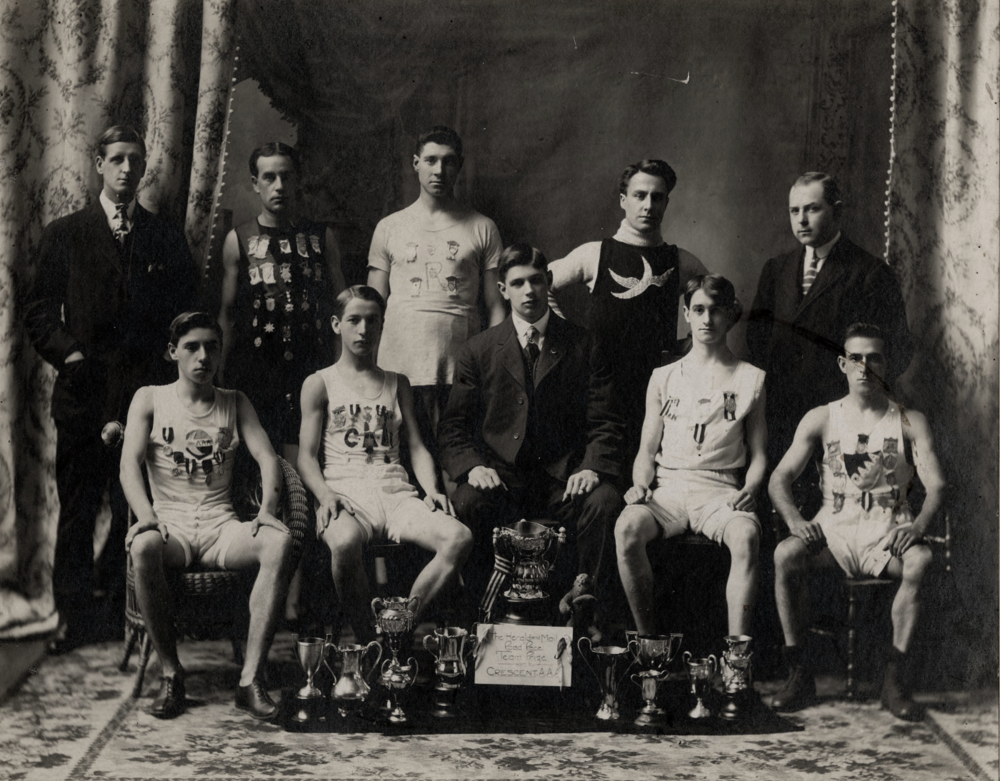 Halifax's long distance running champion crew and resident badasses, the Crescents, showing off dat race bling in 1905