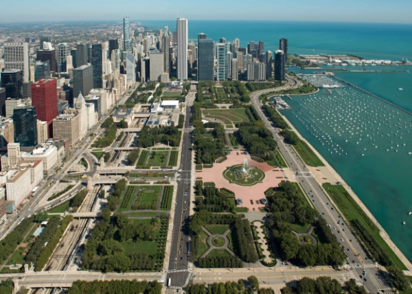 "Grant Park, ""Chicago's Front Yard,"" directly across Michigan Avenue from the Hilton Hotel."