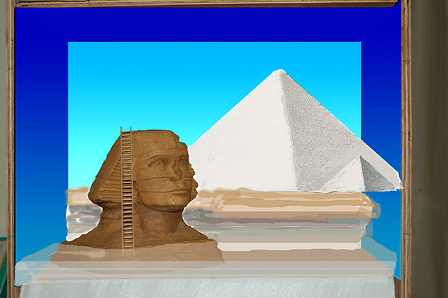 Sphinx with virtual background. (Note: the Pyramid of Khufu and smaller pyramid are much smaller in the finished diorama.)