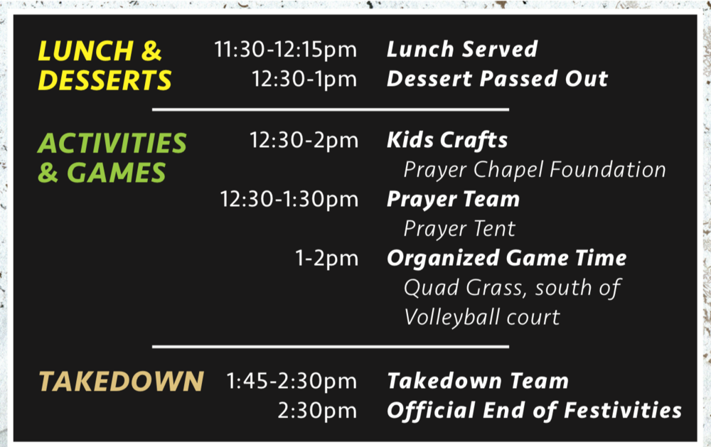 Easter Celebration Schedule