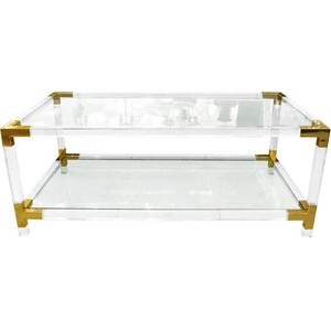 a charles hollis-jones lucite, glass and brass coffee table and 2