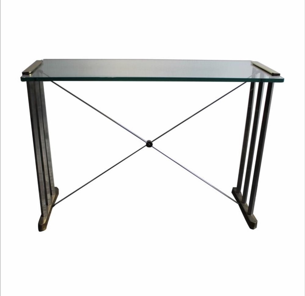 A Glass And Bronze Console Table By Peter Ghyczy