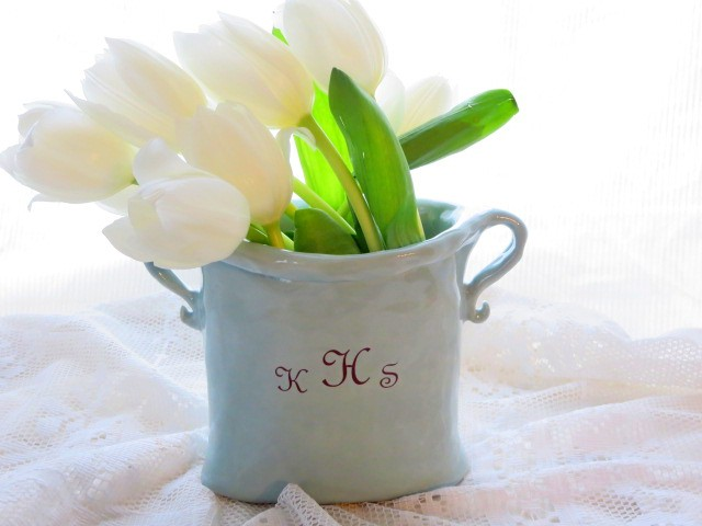 Monogrammed Or Personalized Two Handled Vase Custom Color Hulls