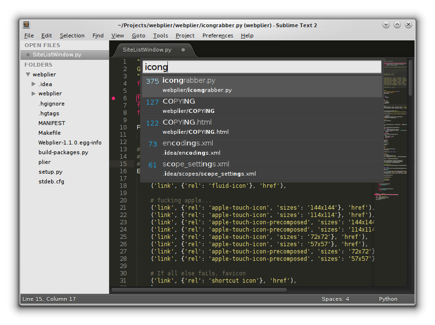 Figure 2. As you type the name of your file, Sublime Text narrows down possible completions.