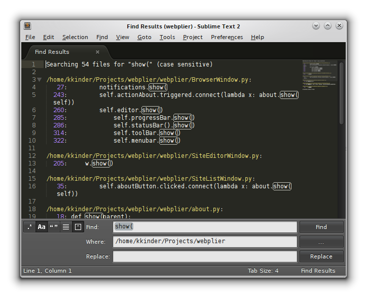 Figure 4. Sublime Text can open up your search results in its own buffer. Click on any result to jump to its source.