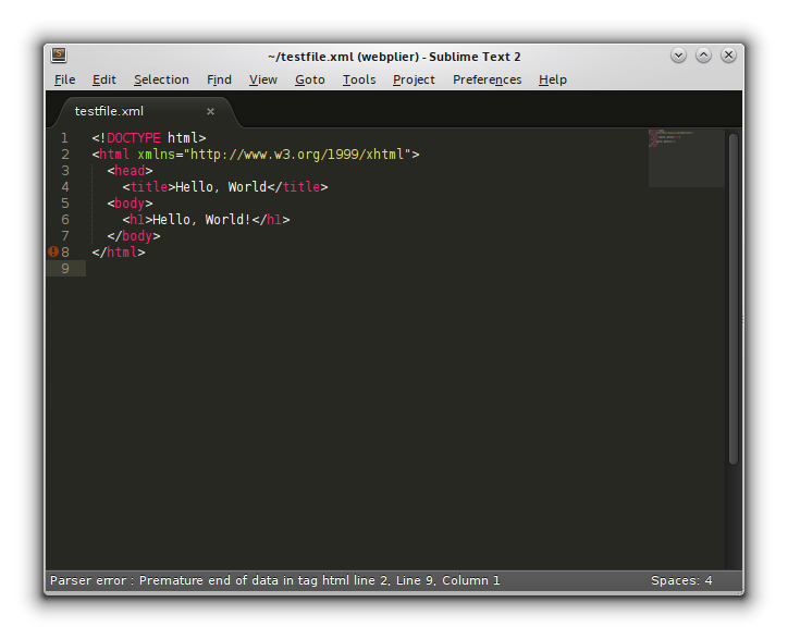 Figure 5. Notice that Sublime Text highlights lines with errors, and in the status bar, it describes the error itself.