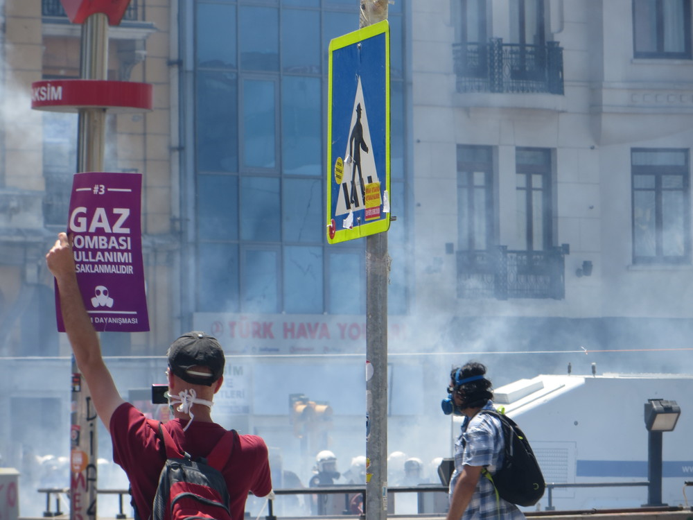 "A protester demonstrates his own futility. The sign reads, ""Prohibit the use of gas bombs."""