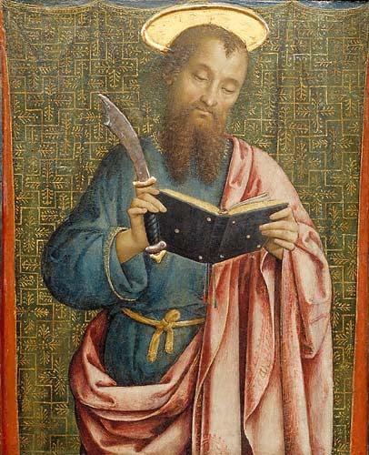 "St. Bartholomew, looking up instructions for ""live flaying."""