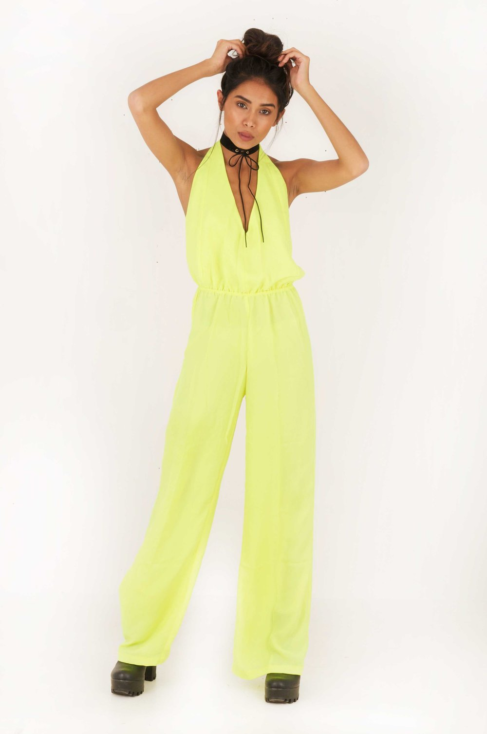 d97935290e5b Voodoo Love Backless Flared Jumpsuit - Lime