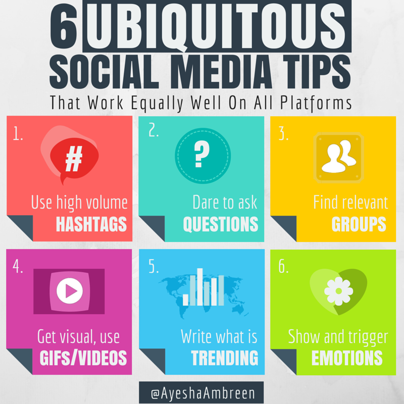 ayeshaambreen: 6 Ubiquitous Social Media Tips Social Media is growing and it is growing at an unprecedented speed everyday. Businesses, too, are undergoing changes to embrace and win social media arena. Still, there are number of platforms that are untapped and call for traction but often small business resources fall short to cater to this over-whelming and ever-growing number of social media platforms. Indeed, all platforms are built differently and serve different purposes. Yet, there are similarities that marketers can dig into and make use of. Here are some tips that work equally well on all social media platform. Employ these easy-to-use tips and enjoy engagement across platforms… Of course, each platform has its own eccentricities to work with, but these six tips are the unifying, above all else best practices.