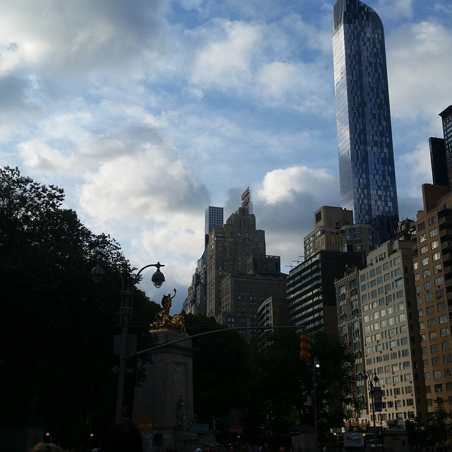 Cloudy skies on Central Park South