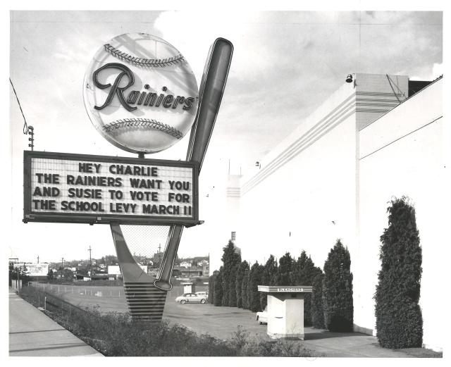 The Rainiers sign is looking south on Rainier Avenue. 1958 David Eskenazi collection
