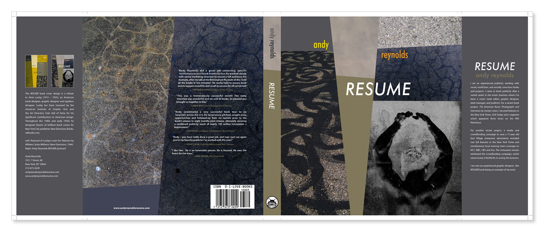 book cover resume as coffee table book andy reynolds graphic resume book jacket layout