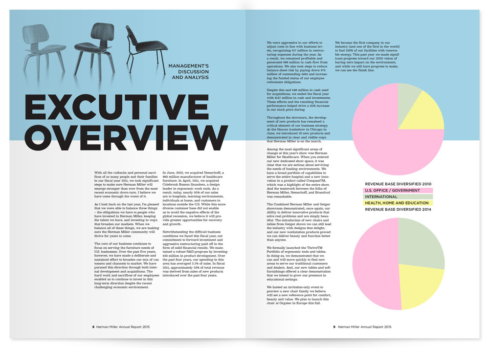 annual report interior spread with info graphic