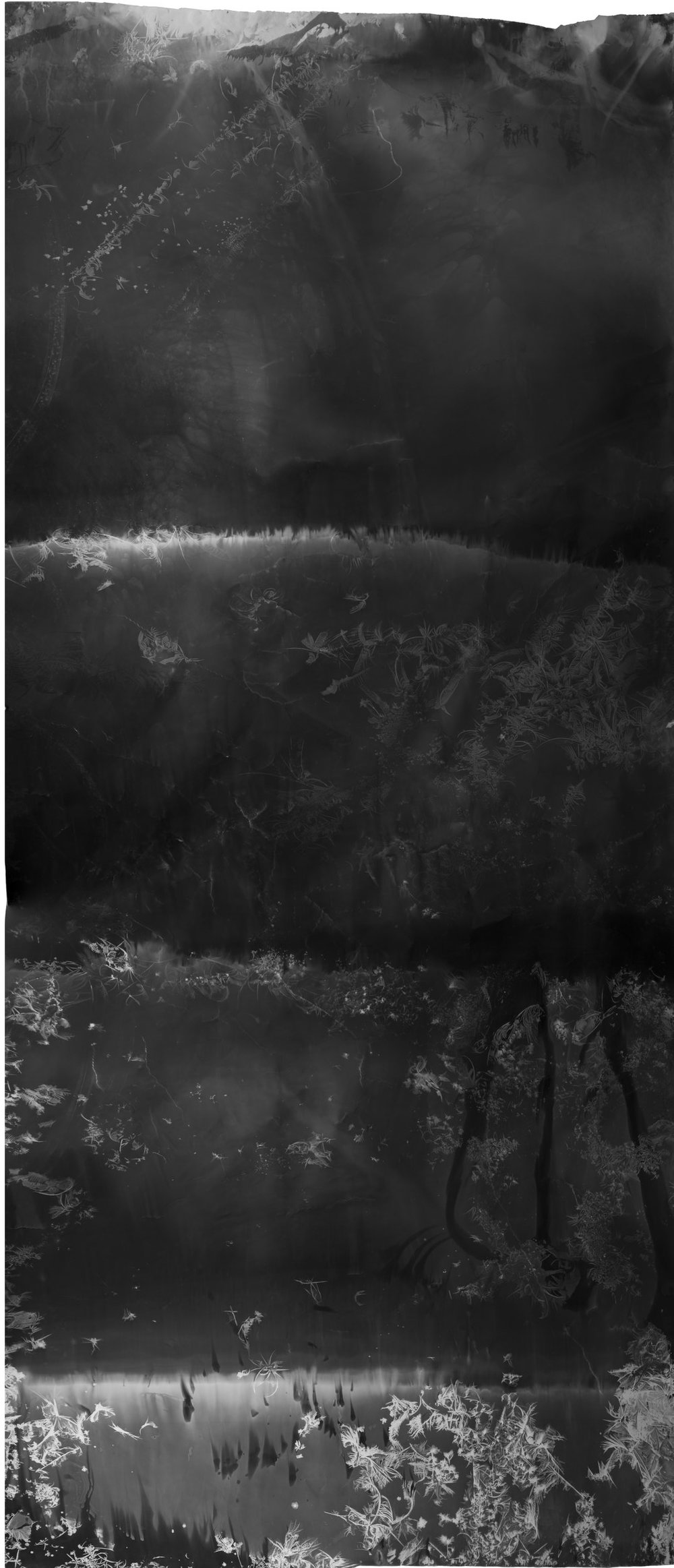 Flashed Waterfall , 2017, 8.66 feet x 3.5 feet, Silver Gelatin Print