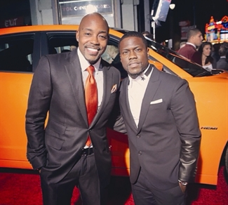 Packer (left) with Kevin Hart at the premiere for Ride Along.