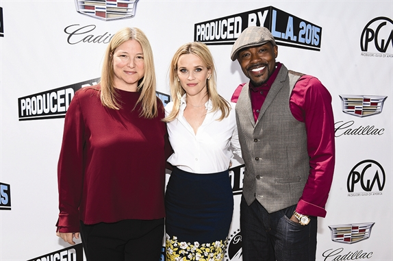 """Will Packer with fellow producers Bruna Papandrea (left) and Reese Witherspoon at this summer's Produced By Conference at Paramount. Packer served as moderator for the event's headlining """"Conversation with..."""" the Pacific Standard producers."""