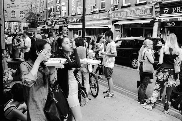 A shot of the crowds on Brick Lane, London