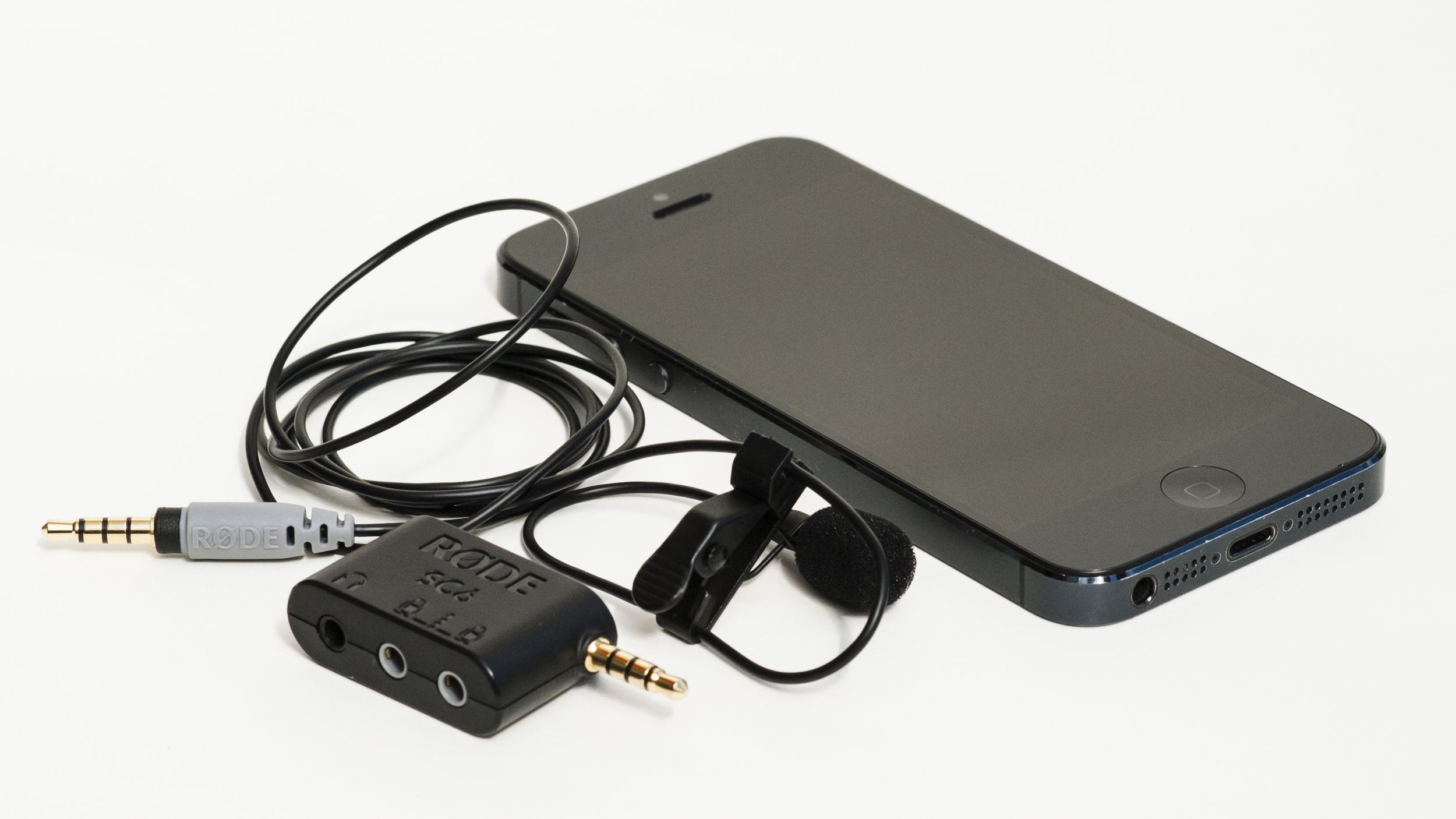 iPhone 5 with lavalier microphone
