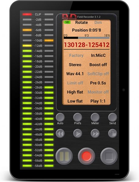 a screen shot from Android app Field Recorder