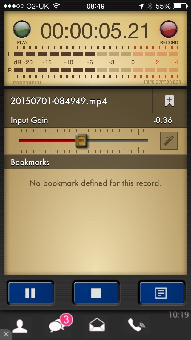 A screen shot from iPhone app Voice Record Pro