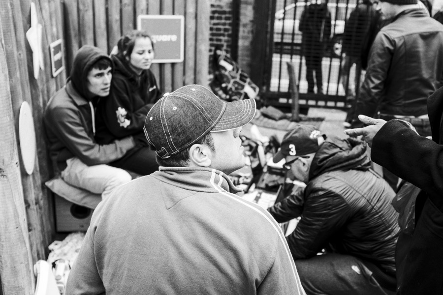 Street photography: A group talking at the Princess May boot fair