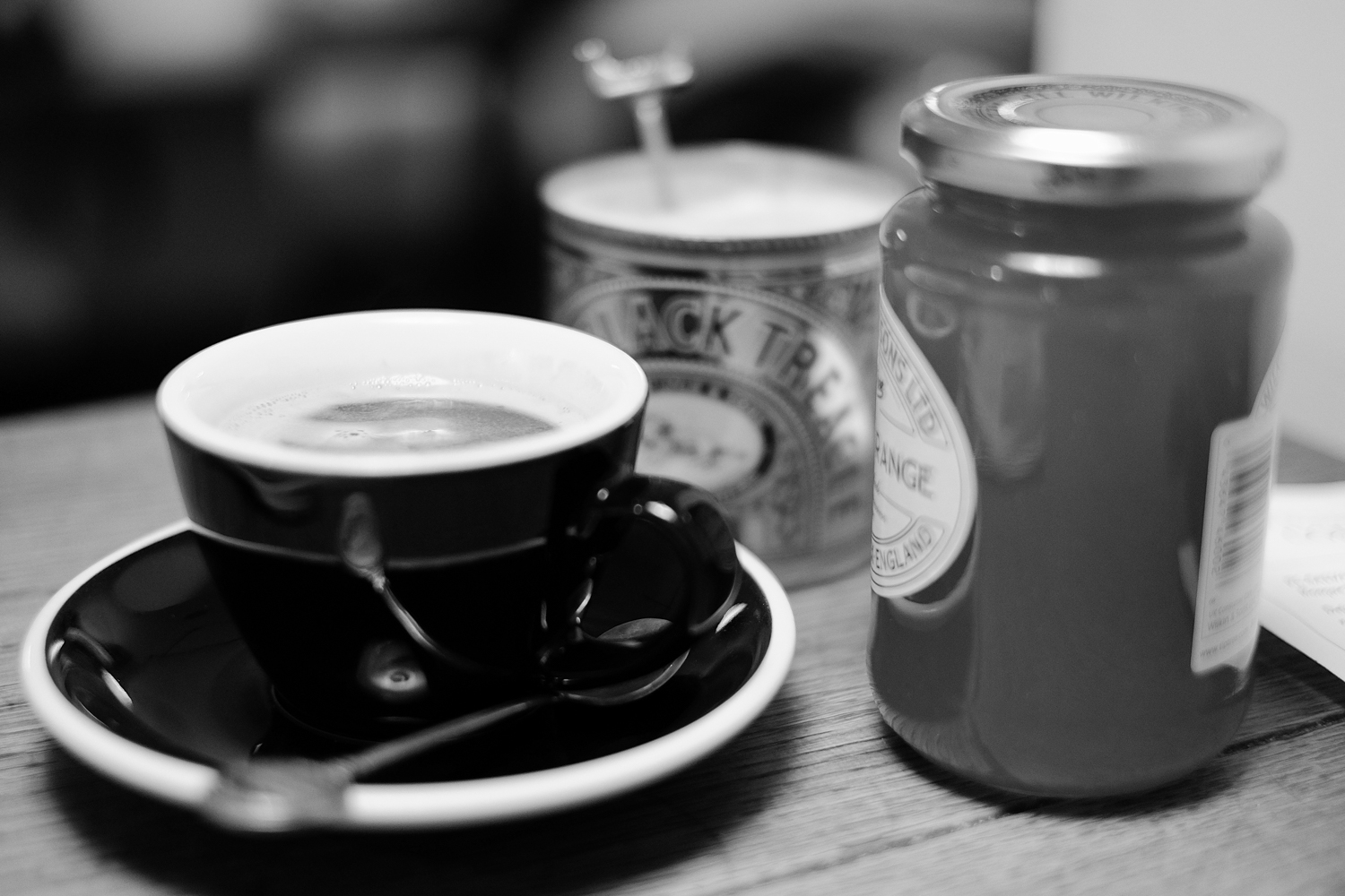 Fujifilm X-T1 jpeg file of a cup of coffee in Tap Coffee, London.