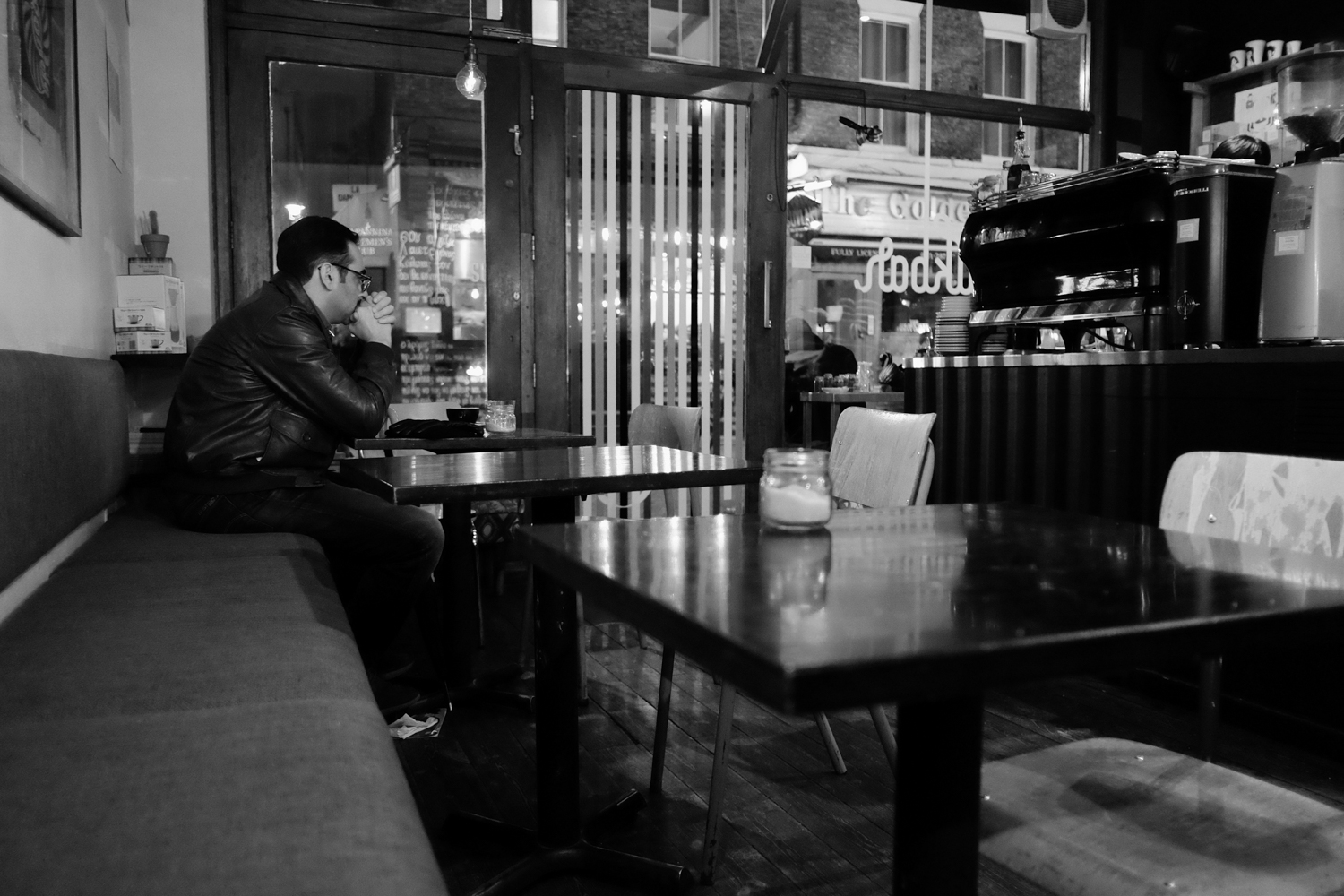 Fujifilm X-T1 jpeg file of a man drinking in the Milk Bar, London