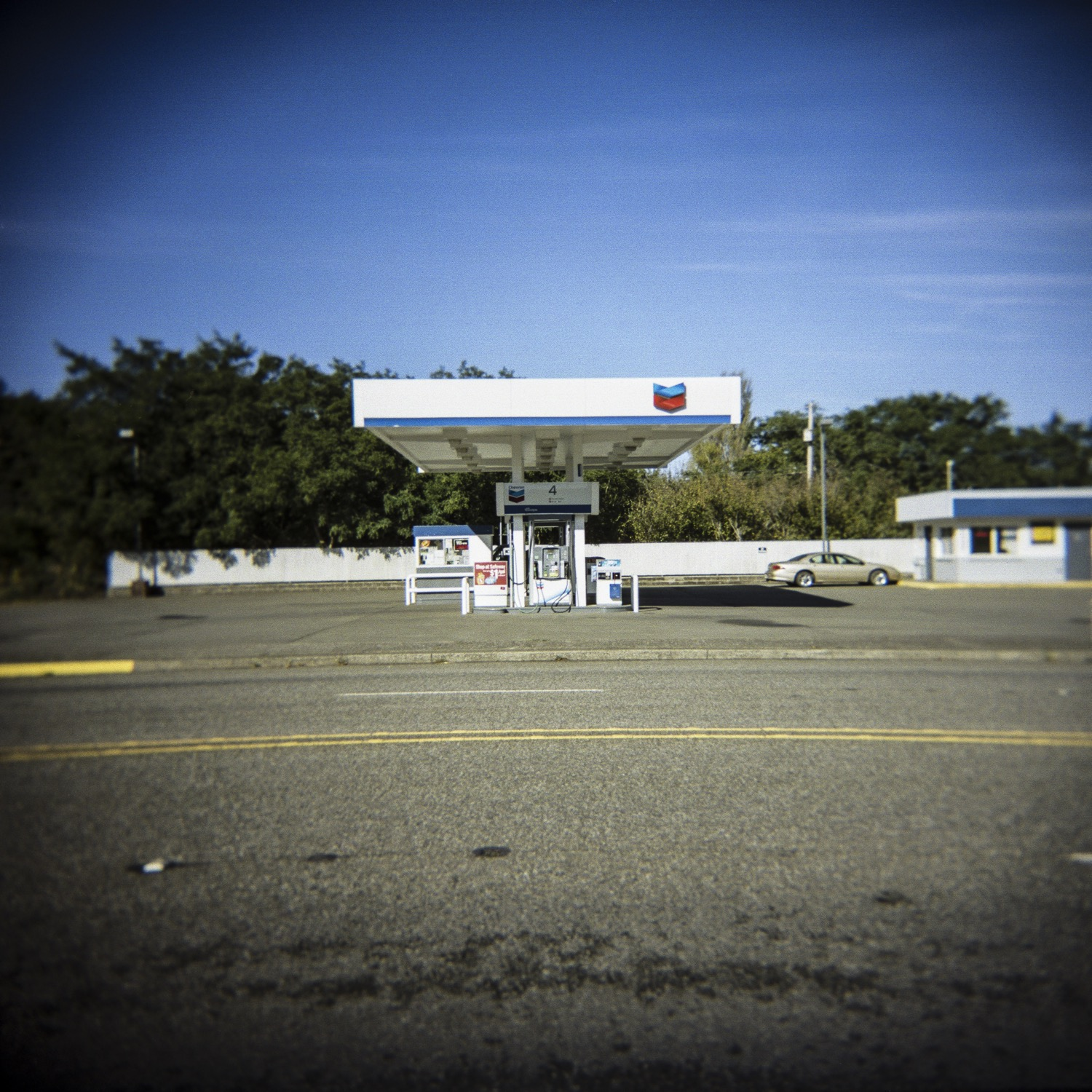 documentary photography shot of Chevron gas station, Port Orford, OR