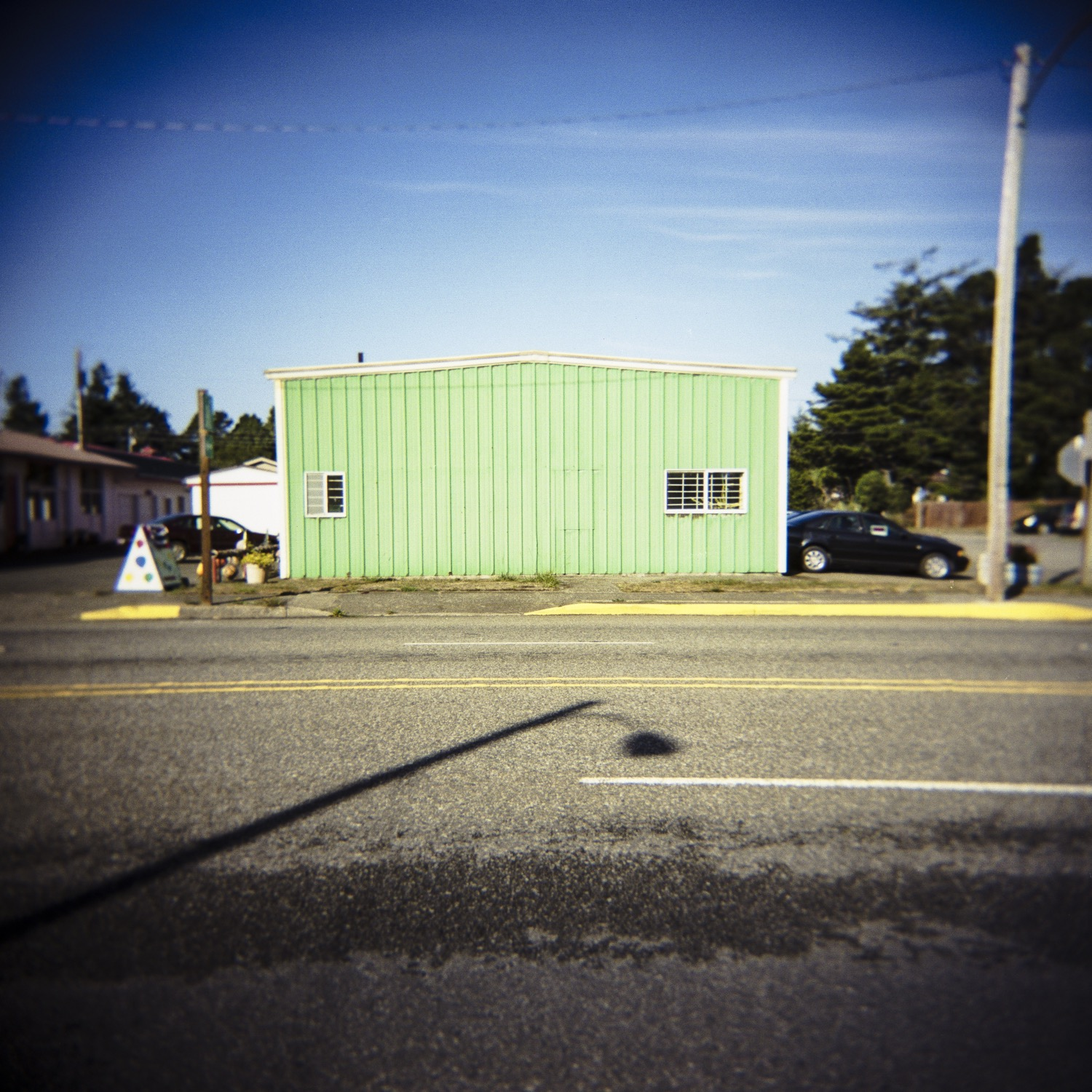 documentary photography shot of unmarked building, Port Orford, OR
