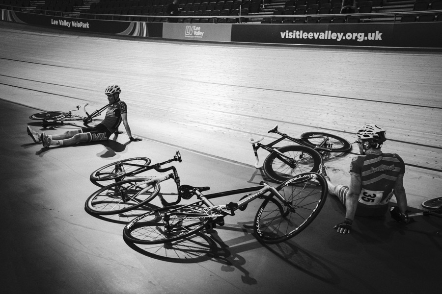 Two track cyclists after being involved in a crash.
