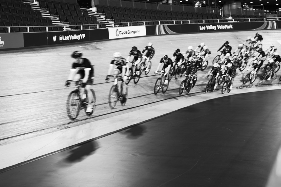 Track cycle racing at the London Olympic velodrome.