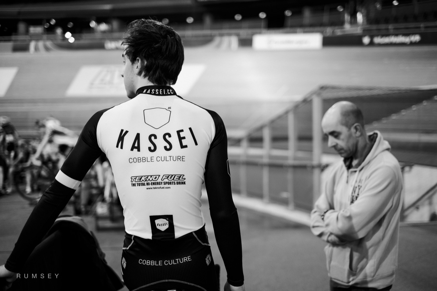 A cyclist warming up at Lee Valley velodrome.