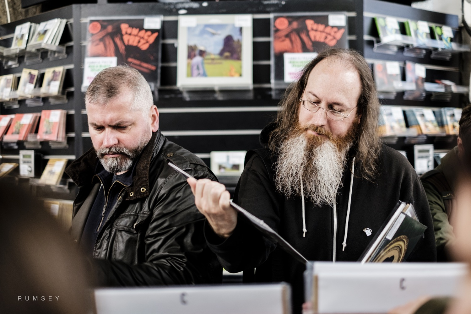 Two bearded men in Rough Trade East