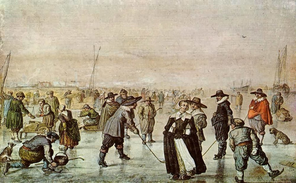 What Pilgrim kids probably got up to. Fun On The Ice by Hendrick Avercamp