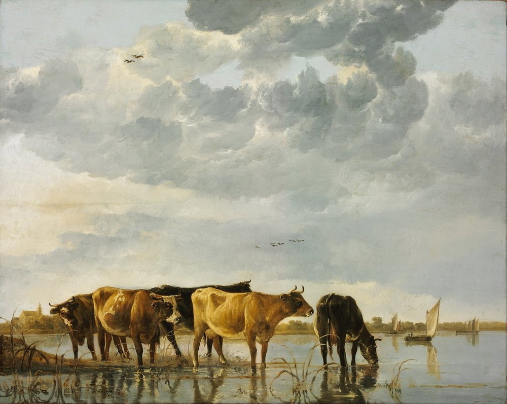 Cows in a (Dutch) River by Aelbert Cuyp, c. 1650.