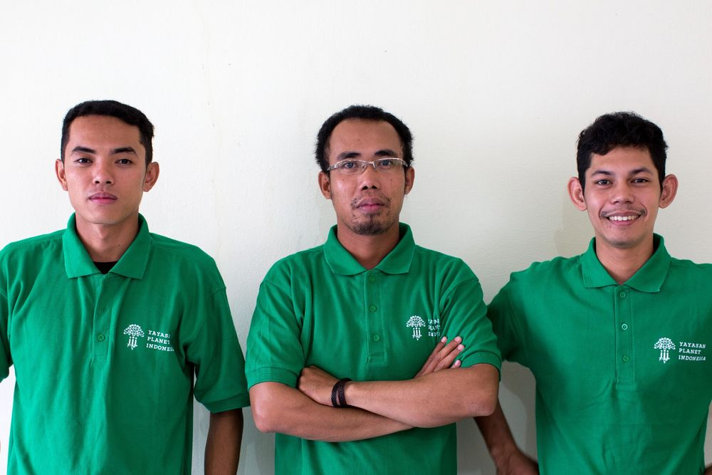 Wildlife Trafficking and Outreach Team: Bento (left), Radius Welly (middle), Juhar (right)
