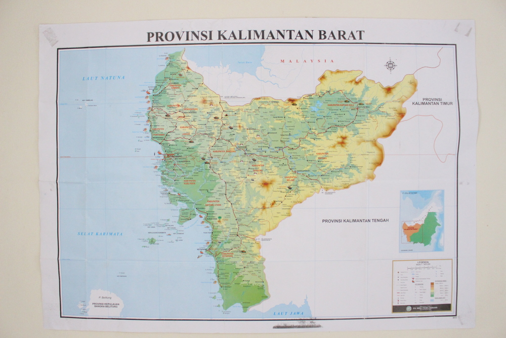 A map of West Kalimantan in our office