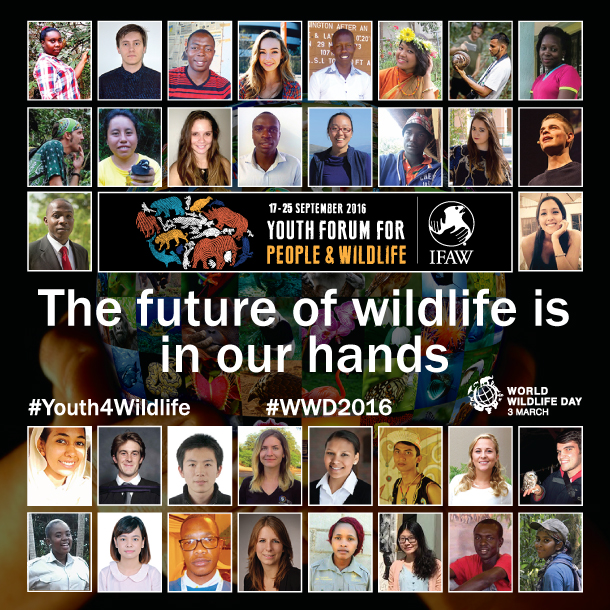 The 34 delegates selected for the Youth Forum for People and Wildlife hosted by IFAW in South Africa