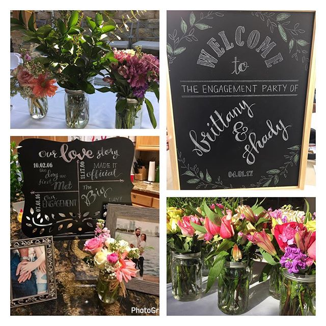 More details from yesterday's engagement party. Our custom signage adds a personal touch to any event! @brittanyskettini @shadyabifaker . . . #engagement #engagementparty #outdoorparty #details #customsigns #chalkboard #springflowers #masonjars #centerpieces #wedding #sandiegowedding #sandiegoweddingplanner #eventcoordinator #eventplanner