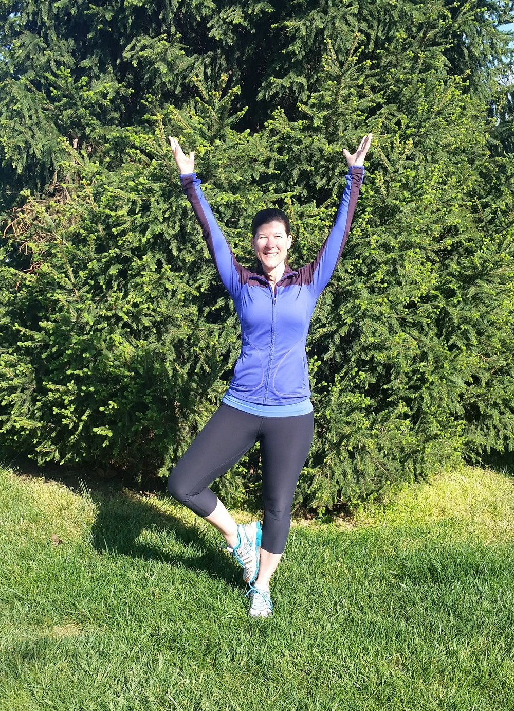 Tree pose with foot against calf